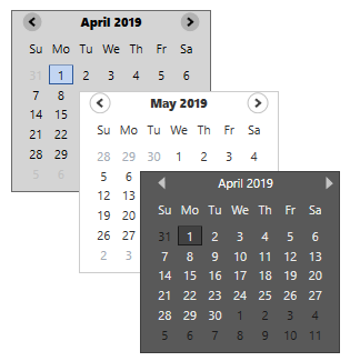 different styles in WPF Calendar control