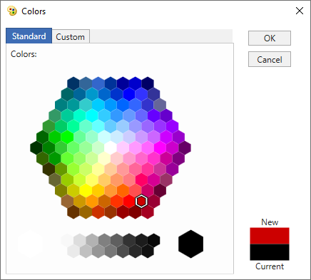 standard colors in color dialog window