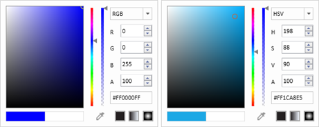 rgb and hsv color code in wpf ColorPicker control