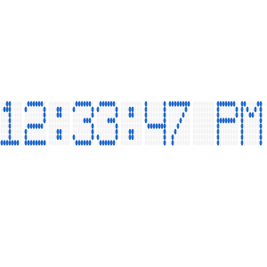 WPF digital gauge showing 8x8 dot matrix segment character type