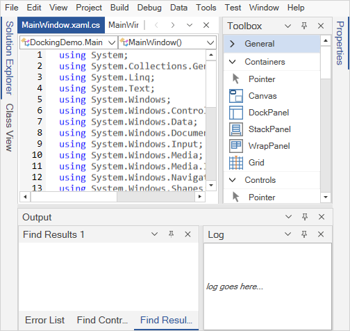 WPF Docking Manager displays complex layout
