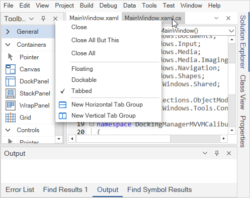 WPF Docking Manager with context menu for close, float, pin windows