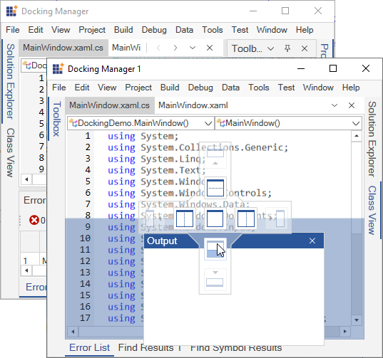 WPF Docking Manager dock windows from one window to another window