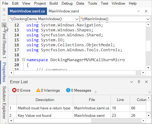 WPF Docking Manager with scrollable tabs