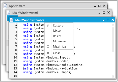 WPF Tabbed MDI Form with context menu for close tabs, create new, or move to next tab group