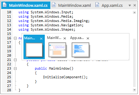 Select documents using windows switchers in WPF Tabbed MDI Form