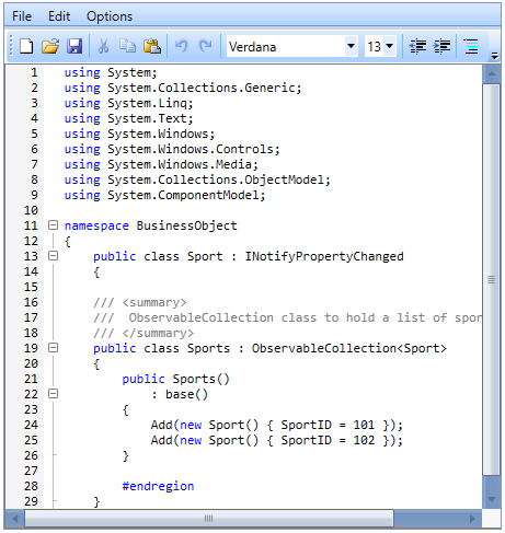 Editing codes in WPF Syntax Editor