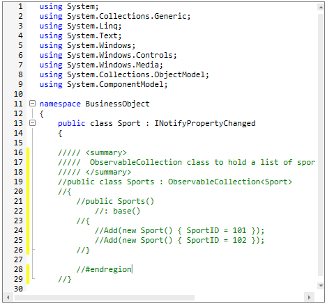 Block of codes comment out in  WPF Syntax Editor
