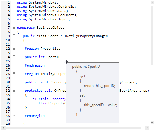 WPF Syntax Editor displays collapsed code block in tooltip
