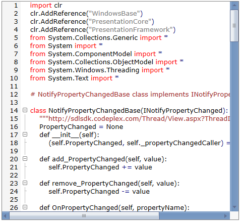 WPF Syntax Editor highlighting the code using keywords and operators