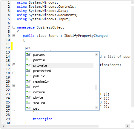 WPF Syntax Editor displays intellisense for complete words in code editing
