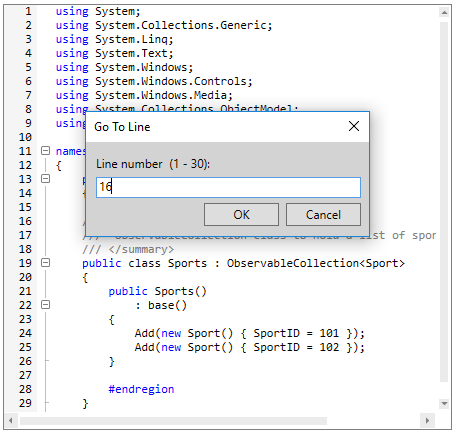 WPF Syntax Editor shows go to line dialog