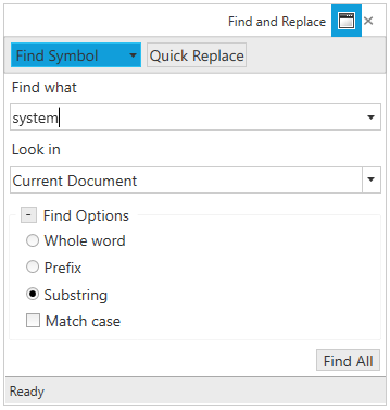 WPF Syntax Editor shows dialog to search word