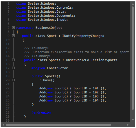 Visual Studio style  WPF Syntax Editor