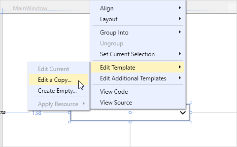 Editing the style template through Visual Studio Designer for WPF Multi Column DropDown control