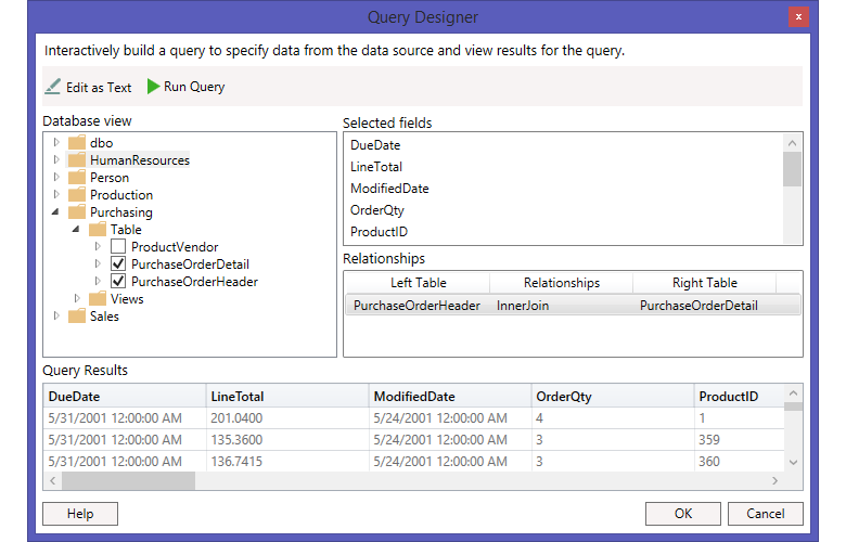 Query Builder | WPF Report Designer| Syncfusion