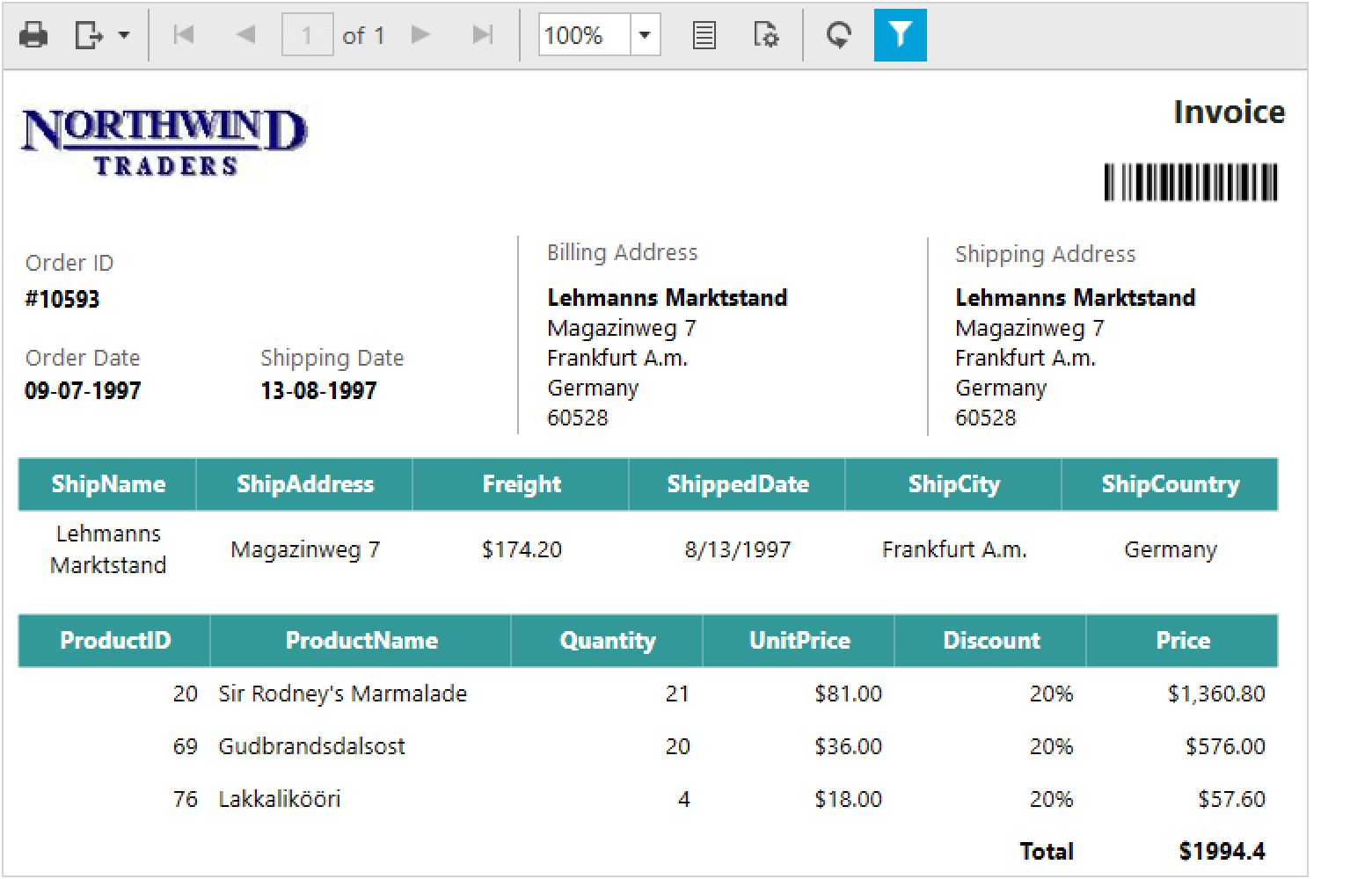 Displays RDL report with custom report items