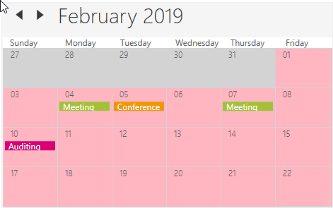 Current month customization in WPF Scheduler