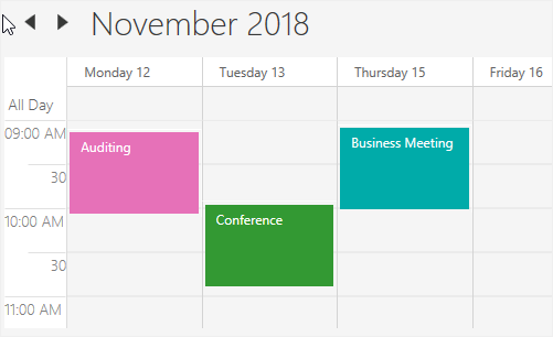 Nonworking days in WPF Scheduler