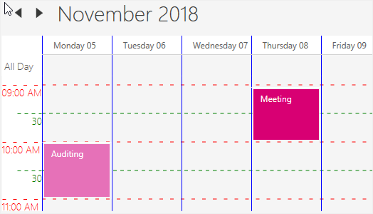 Time interval customization in WPF Scheduler