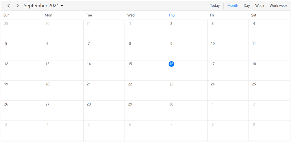 Month view in WPF Scheduler