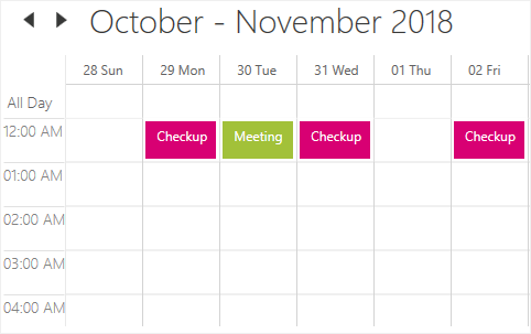 Recurring appointments in WPF Scheduler