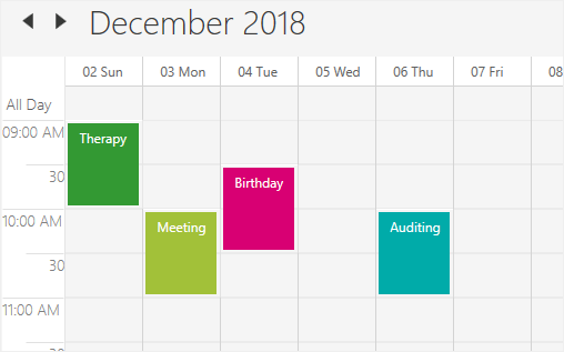 Week view in WPF Scheduler