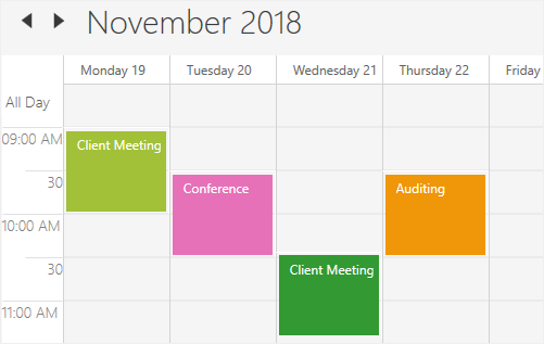 Workweek view in WPF Scheduler