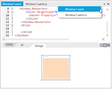 WPF Tab Splitter displays list of tabs in drop down for quick selection