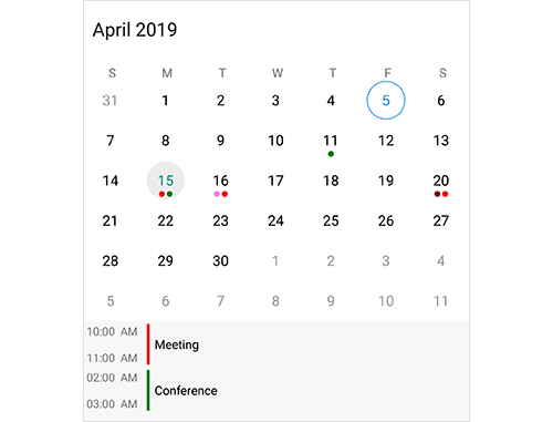 Add events in Xamarin.Android calendar component