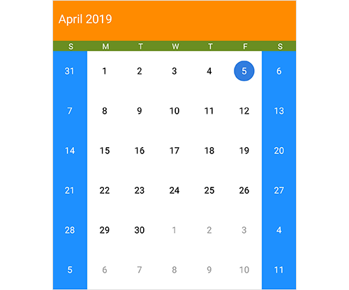 Appearance customization in Xamarin.Android calendar control