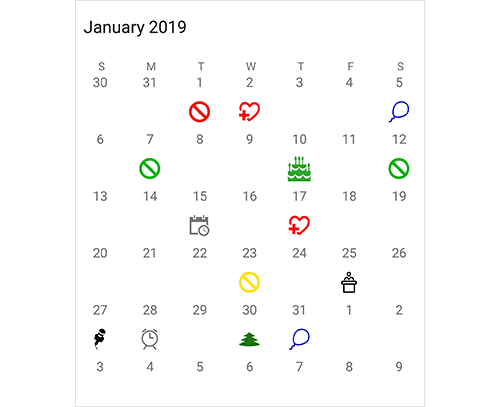 Highlighting special dates in Xamarin.Android calendar