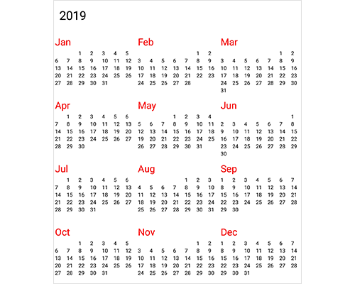 Year view in Xamarin forms calendar control