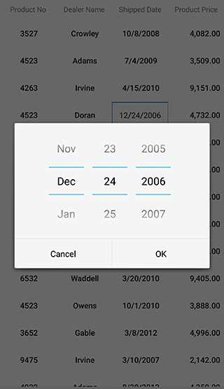 Editing a cell with date picker as editor view