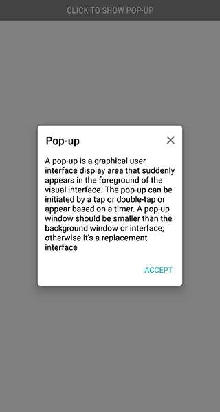 Default apperance of Popup with center positioning