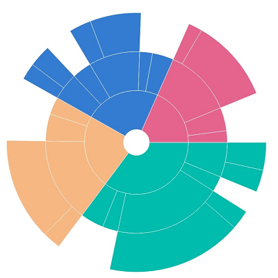 Customizing sunburst chart using radius