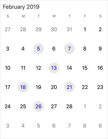 Single or multiple date selection support in Xamarin.iOS  calendar view