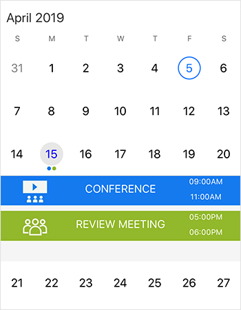 Events customization in Xamarin forms calendar component