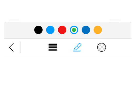 Color palette support for pen, text, and shapes.