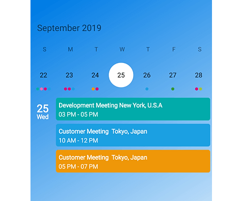 Week view in Xamarin forms calendar control