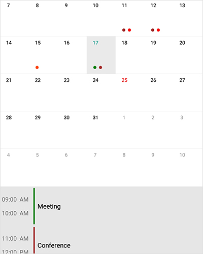 Add events in Xamarin forms calendar component