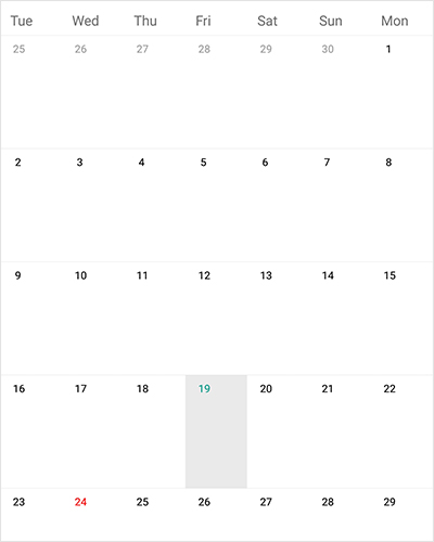 First day of week in Xamarin forms calendar