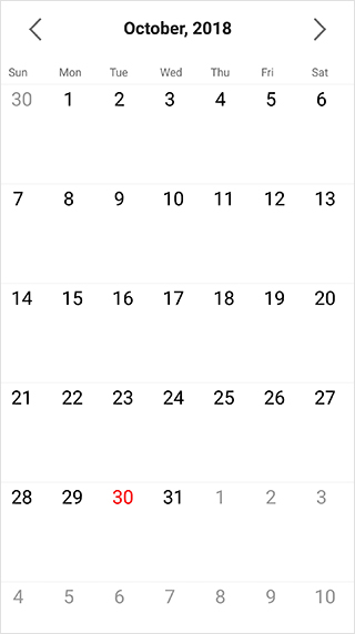 Month view in Xamarin forms calendar control