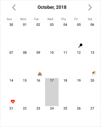 Highlighting special dates in Xamarin forms calendar