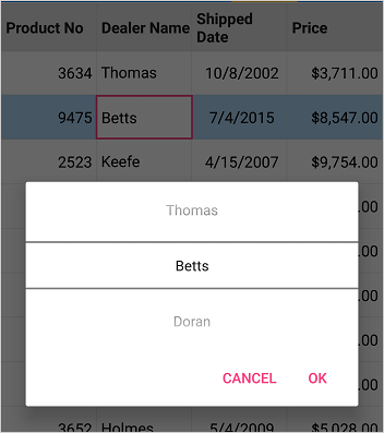 Editing a cell with picker as editor view in Xamarin Forms DataGrid