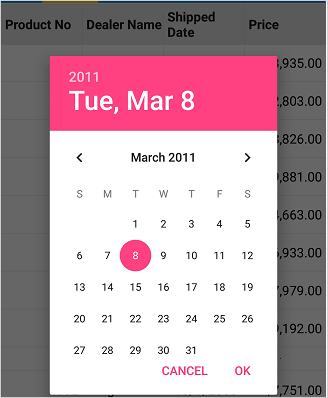 Editing a cell with date picker as editor view in Xamarin Forms DataGrid