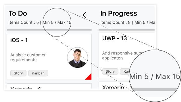 xamarin forms kanban column displays work-in-progress limit details