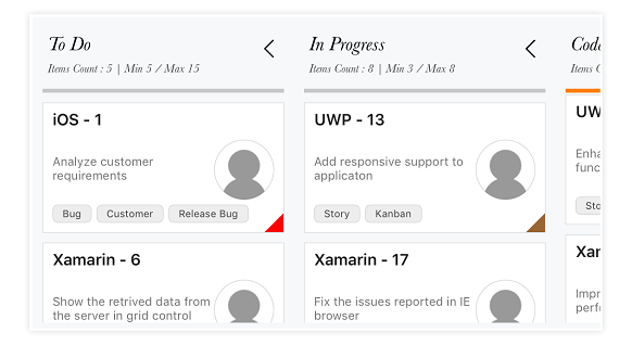 xamarin forms kanban column header customized with different font style