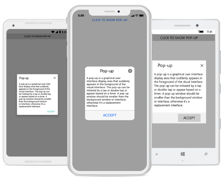 Xamarin Forms Dialog or Pop-up with one button in footer