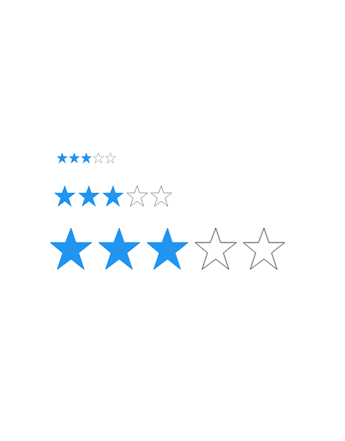 Xamarin.Forms Rating control showing customized item size.